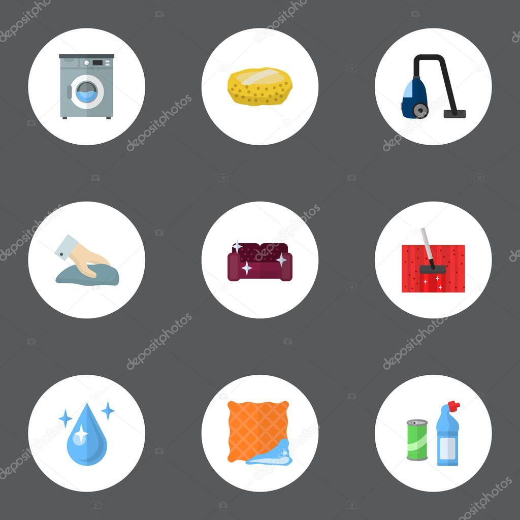 Set of cleaning icons flat style symbols with clean cloth, housekeeping, drop water and other icons for your web mobile app logo design.