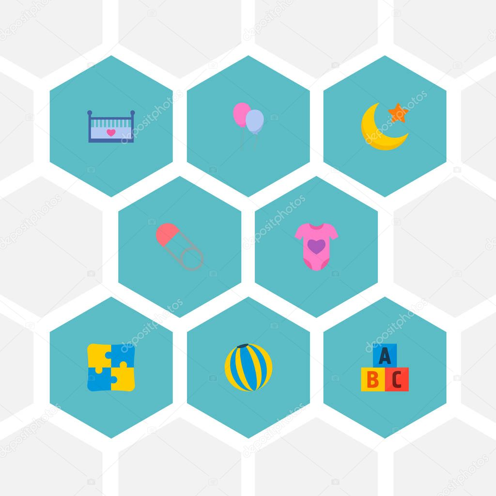 Set of baby icons flat style symbols with body dress, education toys, ball and other icons for your web mobile app logo design.