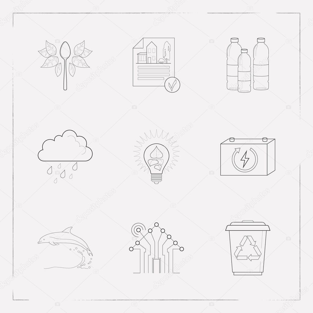 Set of ecology icons line style symbols with reduce waste, eia approved, plastic bottles and other icons for your web mobile app logo design.