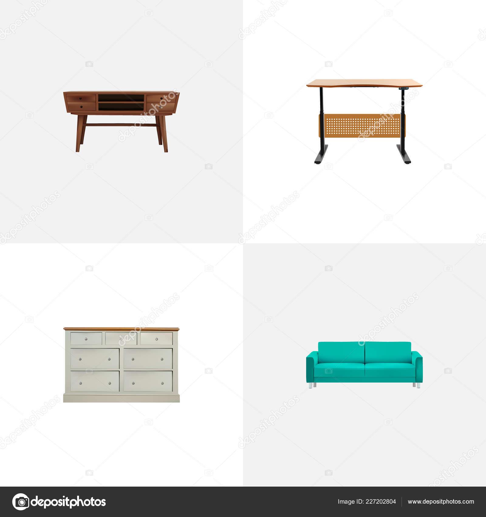 Design Realistische Symbole Mit Kleiderschrank Kommode