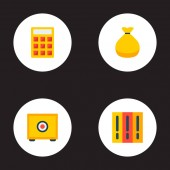 Finanzen Ikonen flachen Stil Symbole mit Geld Tasche, Bibliothek, berechnen und andere Symbole für Ihre Web-mobile app-Logo entwerfen.