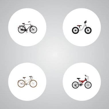 Set of bike realistic symbols with teenager, dutch velocipede, balance and other icons for your web mobile app logo design.