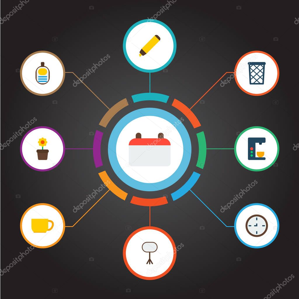 Set of bureau icons flat style symbols with calendar, id badge, whiteboard and other icons for your web mobile app logo design.