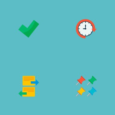 Set of project icons flat style symbols with postpone, complete, arrange task and other icons for your web mobile app logo design.