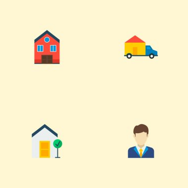 Set of immovable icons flat style symbols with home, good property, realtor and other icons for your web mobile app logo design.