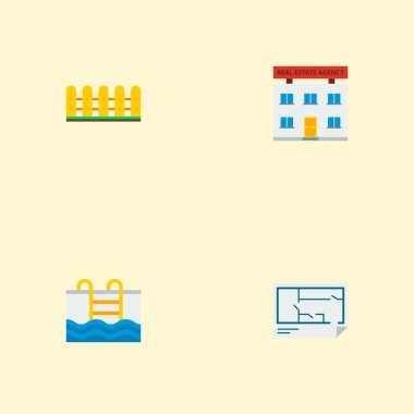 Set of immovable icons flat style symbols with fence, floor plan, office and other icons for your web mobile app logo design.