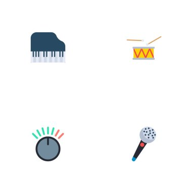 Set of audio icons flat style symbols with microphone, drum, volume control and other icons for your web mobile app logo design.