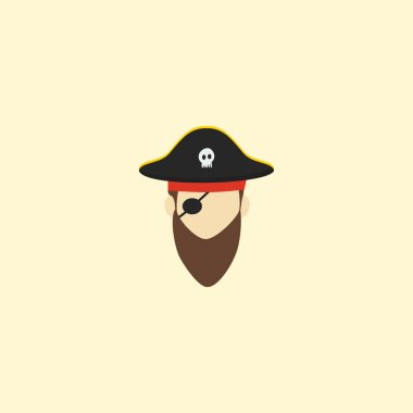 Pirate icon flat element.  illustration of pirate icon flat isolated on clean background for your web mobile app logo design.
