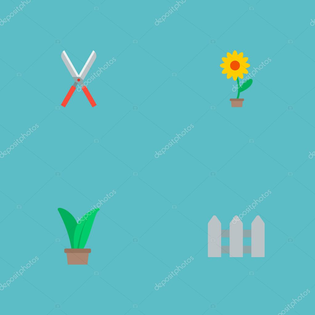 Set of horticulture icons flat style symbols with hedge, herb, plant pot and other icons for your web mobile app logo design.