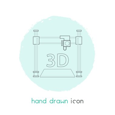 3d printer icon line element.  illustration of 3d printer icon line isolated on clean background for your web mobile app logo design.