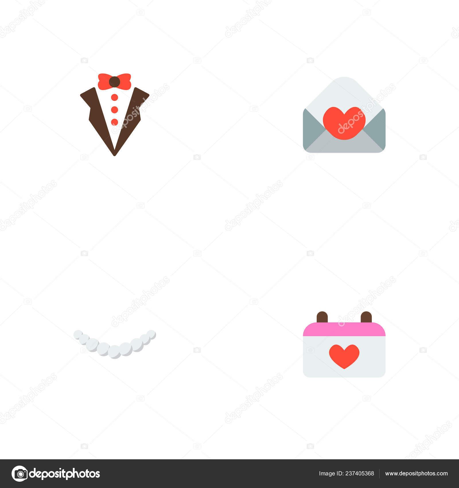 Set Marriage Icons Flat Style Symbols Groom Suit Invitation Necklace