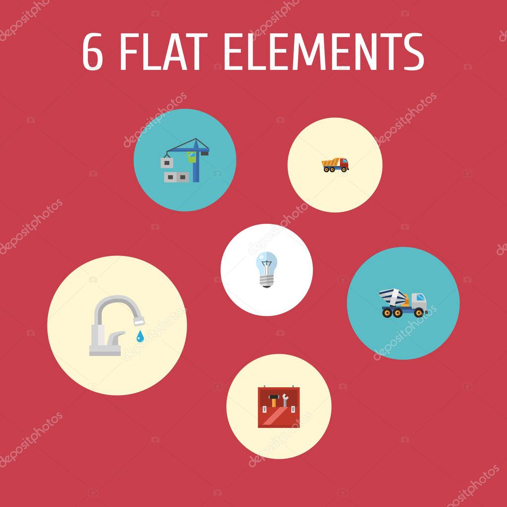 Set of construction icons flat style symbols with dumper truck, water tap, concrete mixer and other icons for your web mobile app logo design.