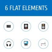 Fotografie Sada symbolů ploché styl ikony počítače s sluchátka, notebooku, modemu a další ikony pro váš web mobilní aplikace loga design