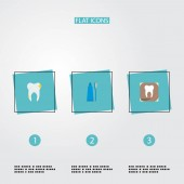 Photo Set of tooth icons flat style symbols with dental x-ray, tooth, toothpaste and other icons for your web mobile app logo design.