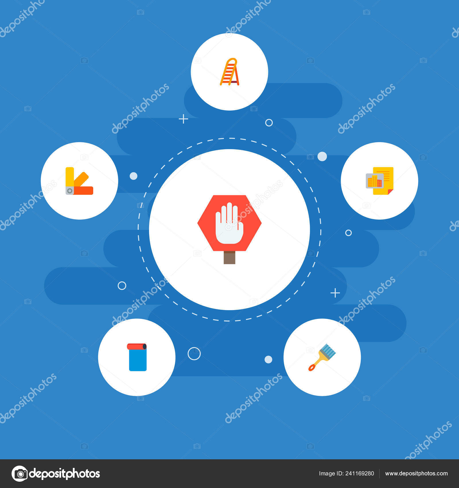 Set Of Construction Icons Flat Style Symbols With Color
