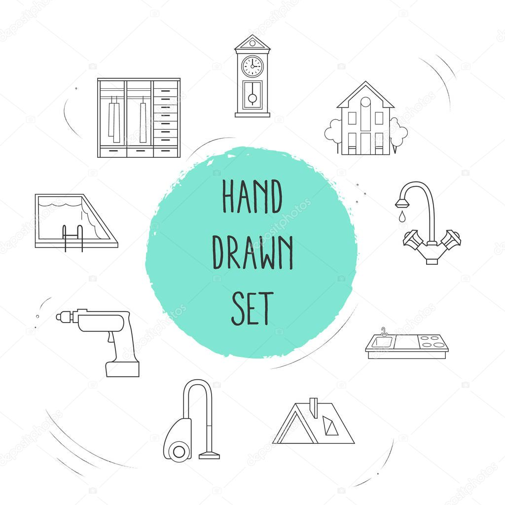 Set of interior icons line style symbols with roof, water crane, house and other icons for your web mobile app logo design.