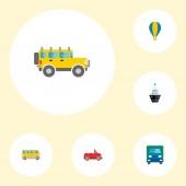 Sada symbolů ploché styl ikony vozidla nákladní automobil, loď, suv a ostatní ikony pro váš web mobilní aplikace loga design