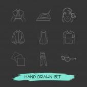 Sada oblečení ikony čáry styl symbolů s šátek, puritánské límec, džínové ikony pro váš web mobilní aplikace loga design