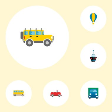 Set of vehicle icons flat style symbols with lorry, ship, suv and other icons for your web mobile app logo design.