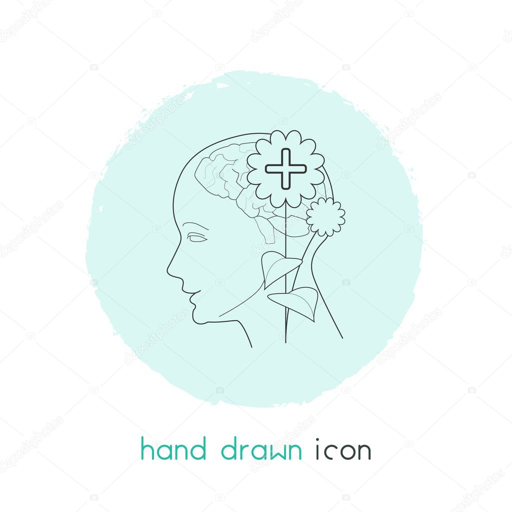 Mental health icon line element.  illustration of mental health icon line isolated on clean background for your web mobile app logo design.
