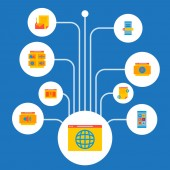 Fotografie Sada webové stránky rozvoje ikony ploché styl symbolů s webovým prohlížečem, obsah webových stránek, projektu stručný a další ikony pro váš web mobilní aplikace loga design