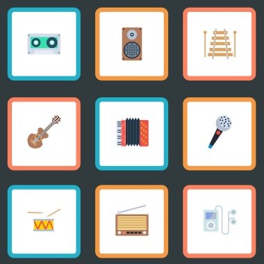 Set of audio icons flat style symbols with xylophone, drum, cassette and other icons for your web mobile app logo design.
