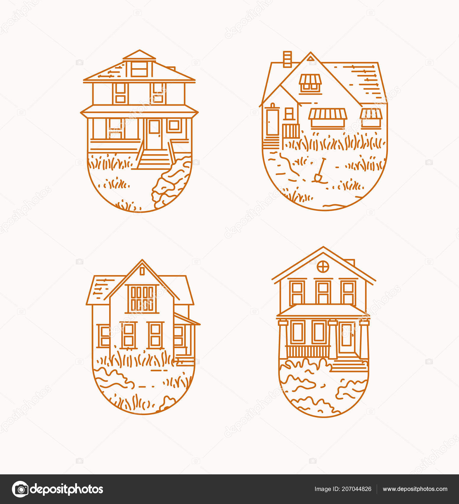 Set House Badges Different Forms Drawing Flat Style Beige Background U2014  Vetores De Stock