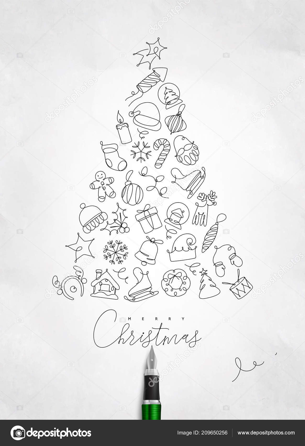 Christmas Toy Tree Drawing Pen Line Crumpled Paper Background Vector Image By C Anna42f Vector Stock 209650256