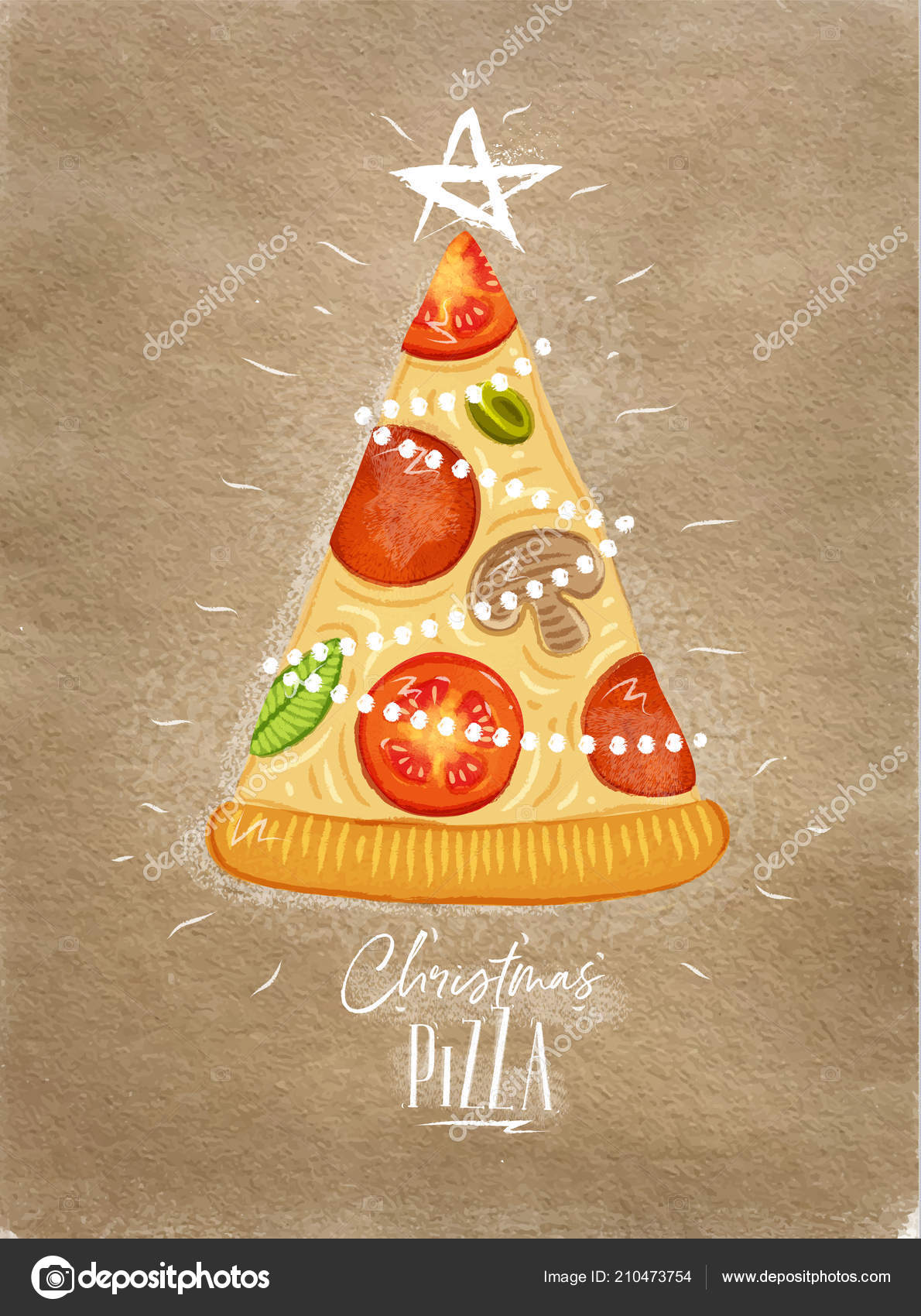 Poster Christmas Tree Pizza Star Top Lettering Drawing Craft