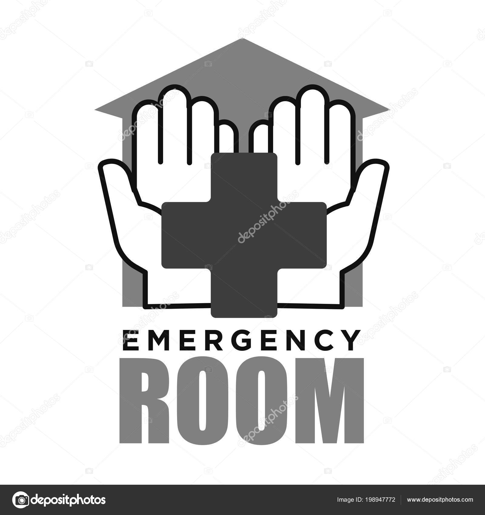 Emergency Room Medical Vector Logo Cross Helping Hands Hospital First Stock