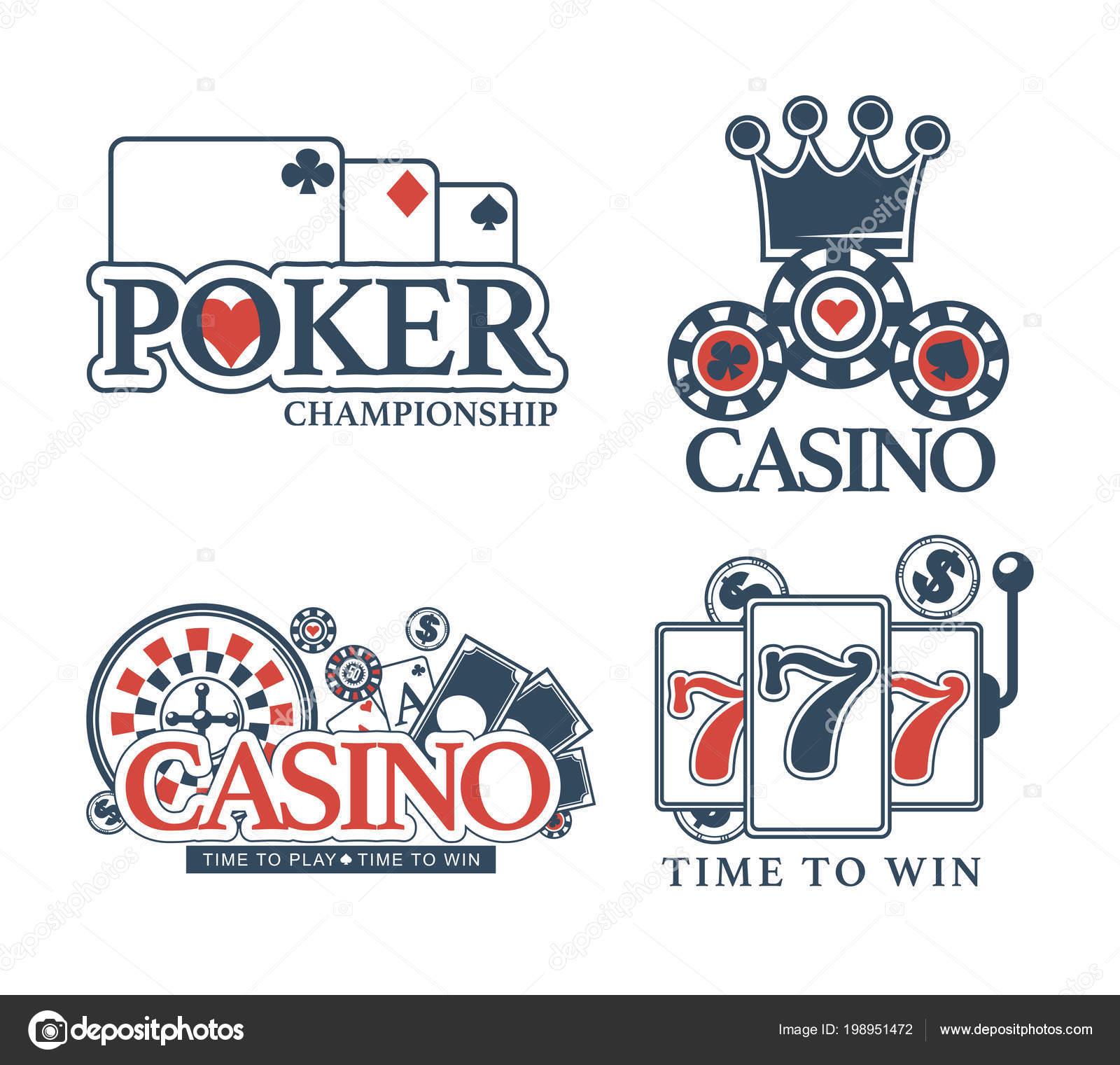 Set Plantillas Logo Póker Casino Iconos Vector Lucky Jackpot Fichas ...