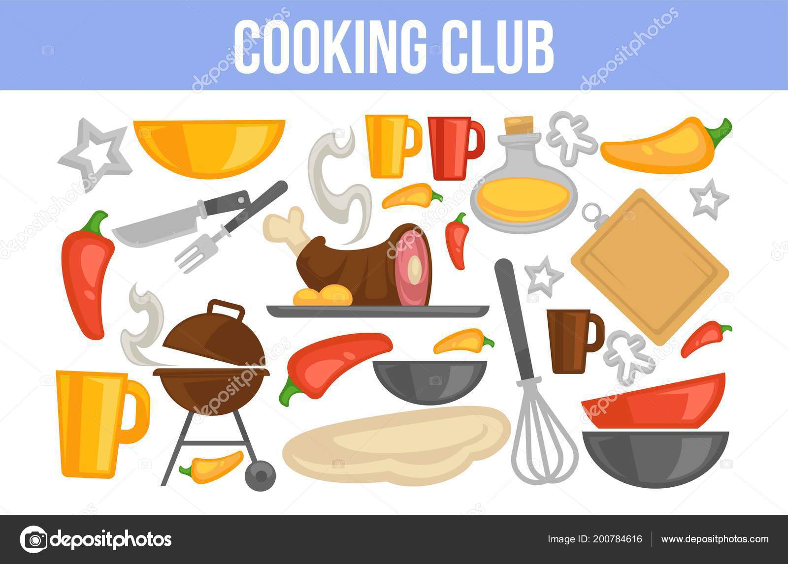 Cooking Club Poster Kitchenware Ingredients Dishes Stock Vector