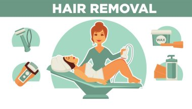 Hair removal poster icons and headline.