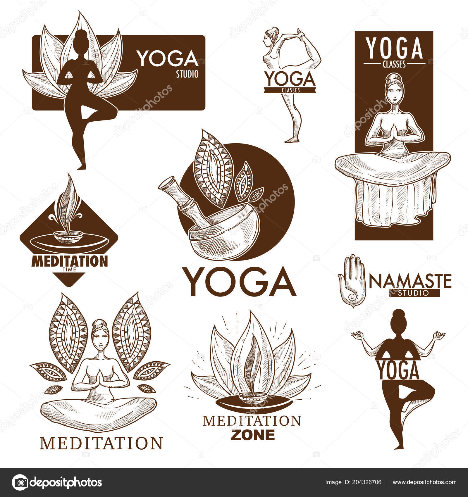Yoga Studio Logo Sketch Zen Meditation Club Yoga Classes Stock Vector C Sonulkaster 204326706