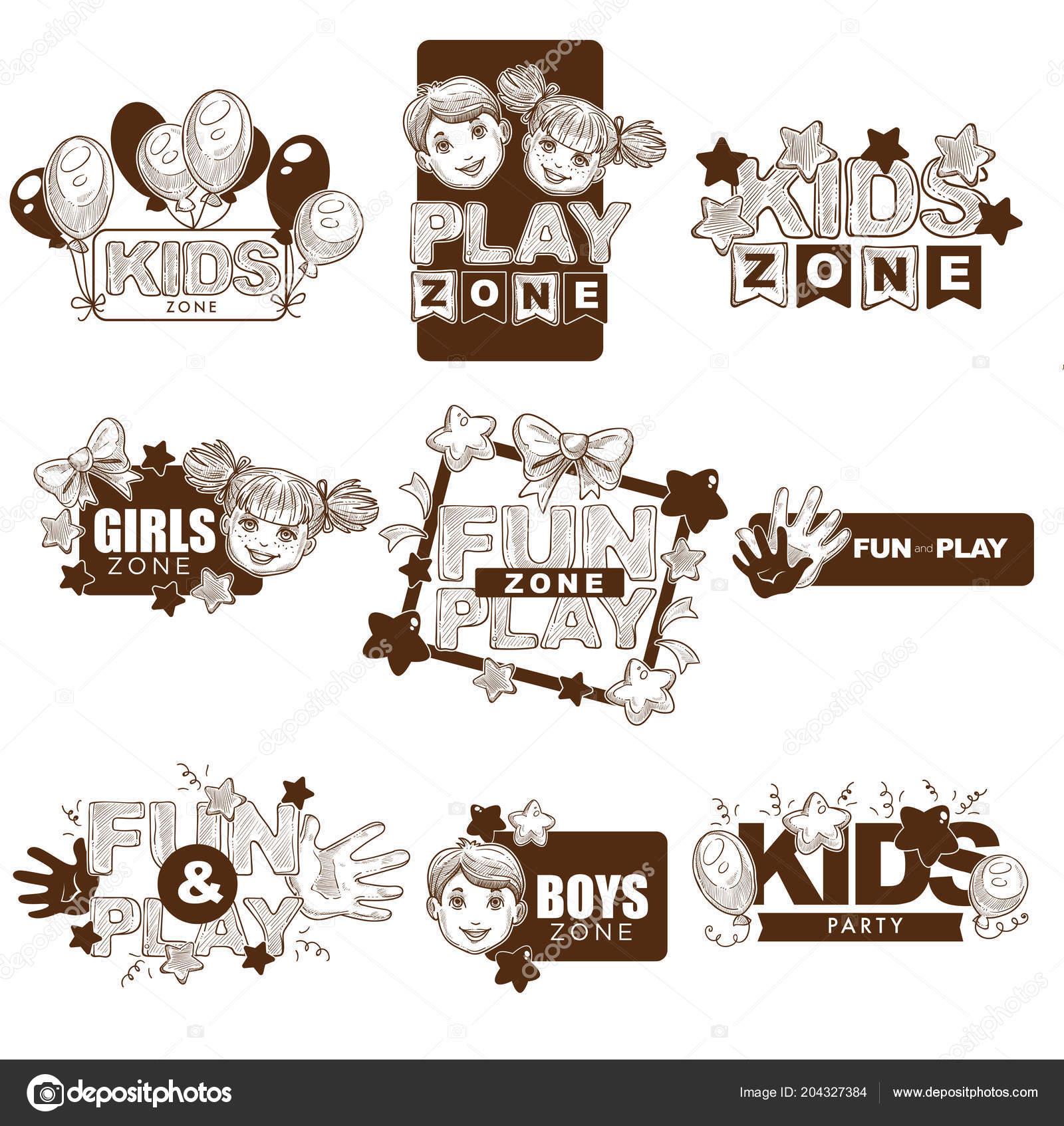 Niños Zona Vector Dibujo Logos Plantillas Para Parque Infantil ...