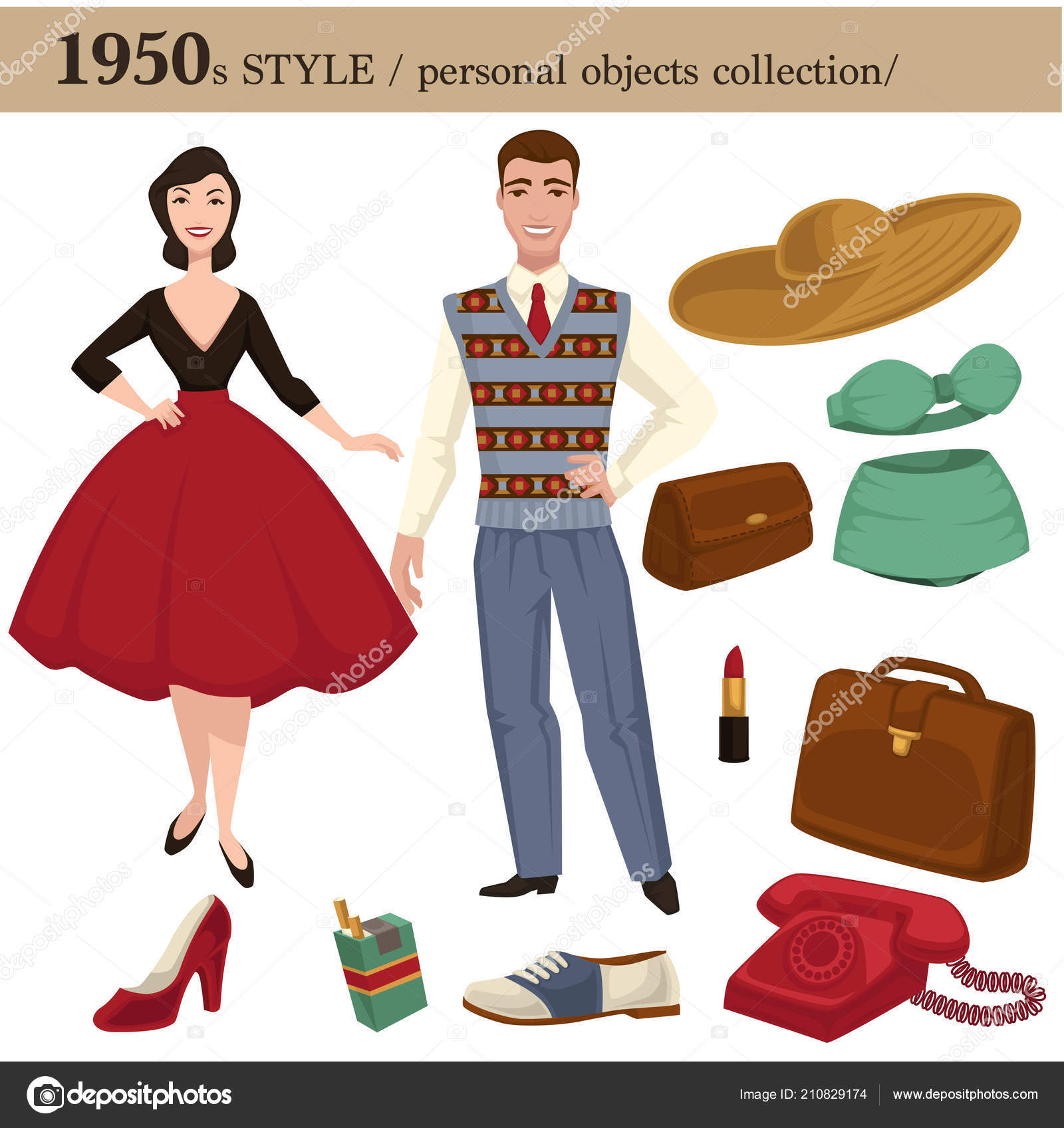0fefe1a4f 1950 módní styl oblečení oděvy muž a žena a osobní sbírka. Retro šaty  vektorové nebo oblek s boty, klobouky a nositelné příslušenství– stock  ilustrace