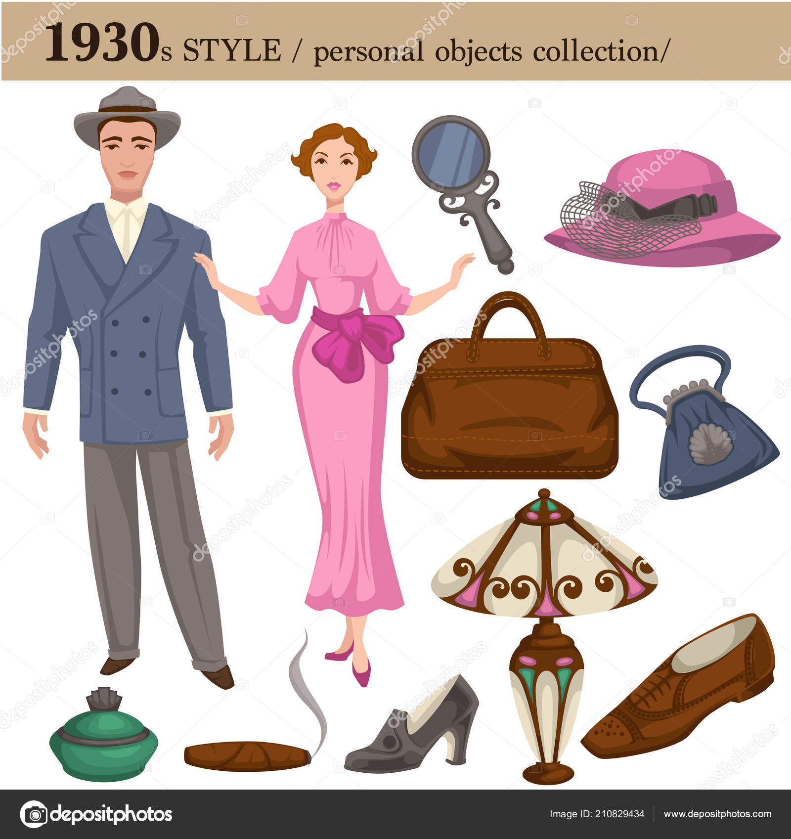 b11507801bd 1930 fashion style of man and woman clothes garments and personal objects  collection. Vector retro dress or suit with shoes
