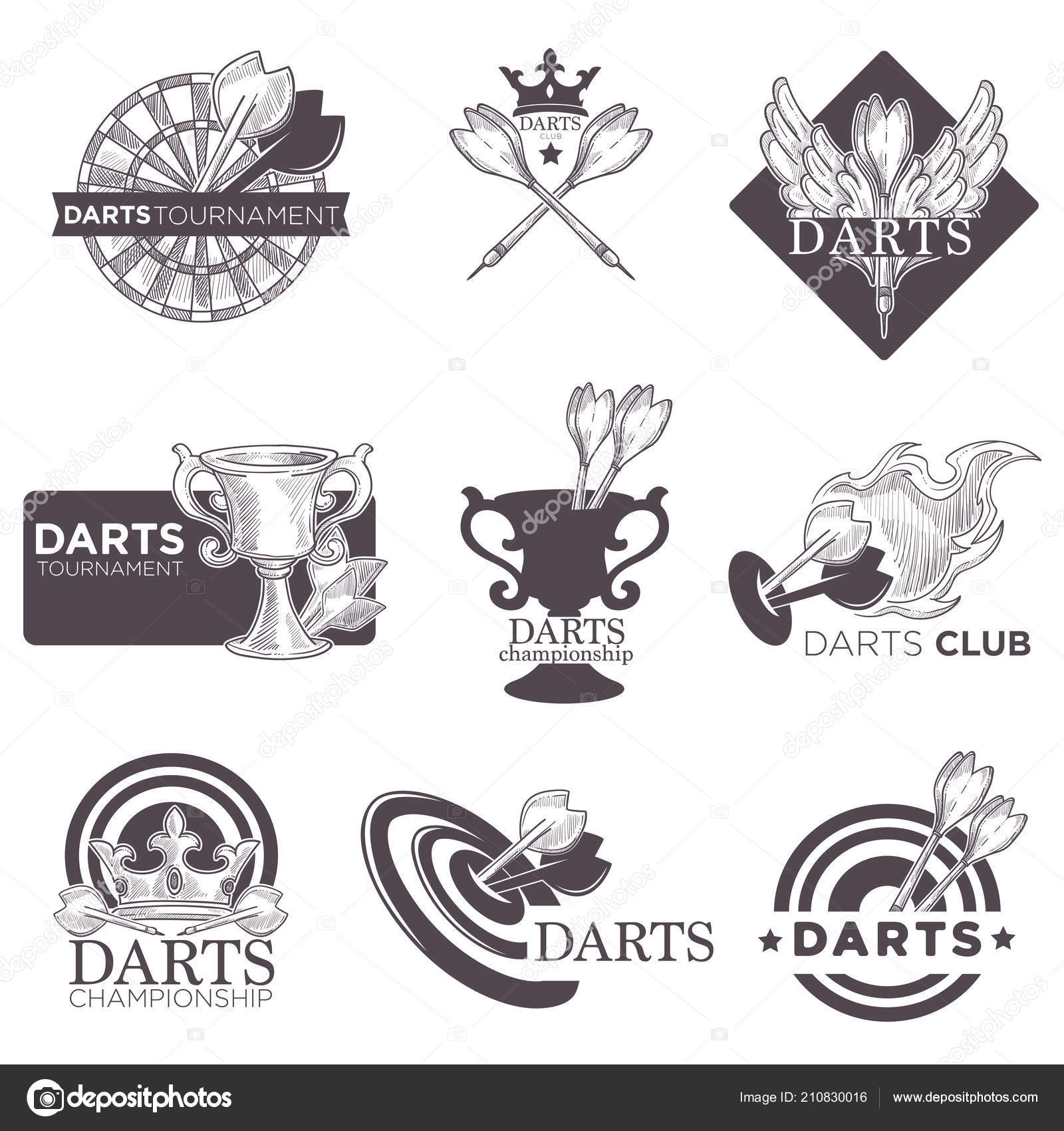 Darten Club Kampioenschap Logo Schets Vector Iconen Voor Dart Sport