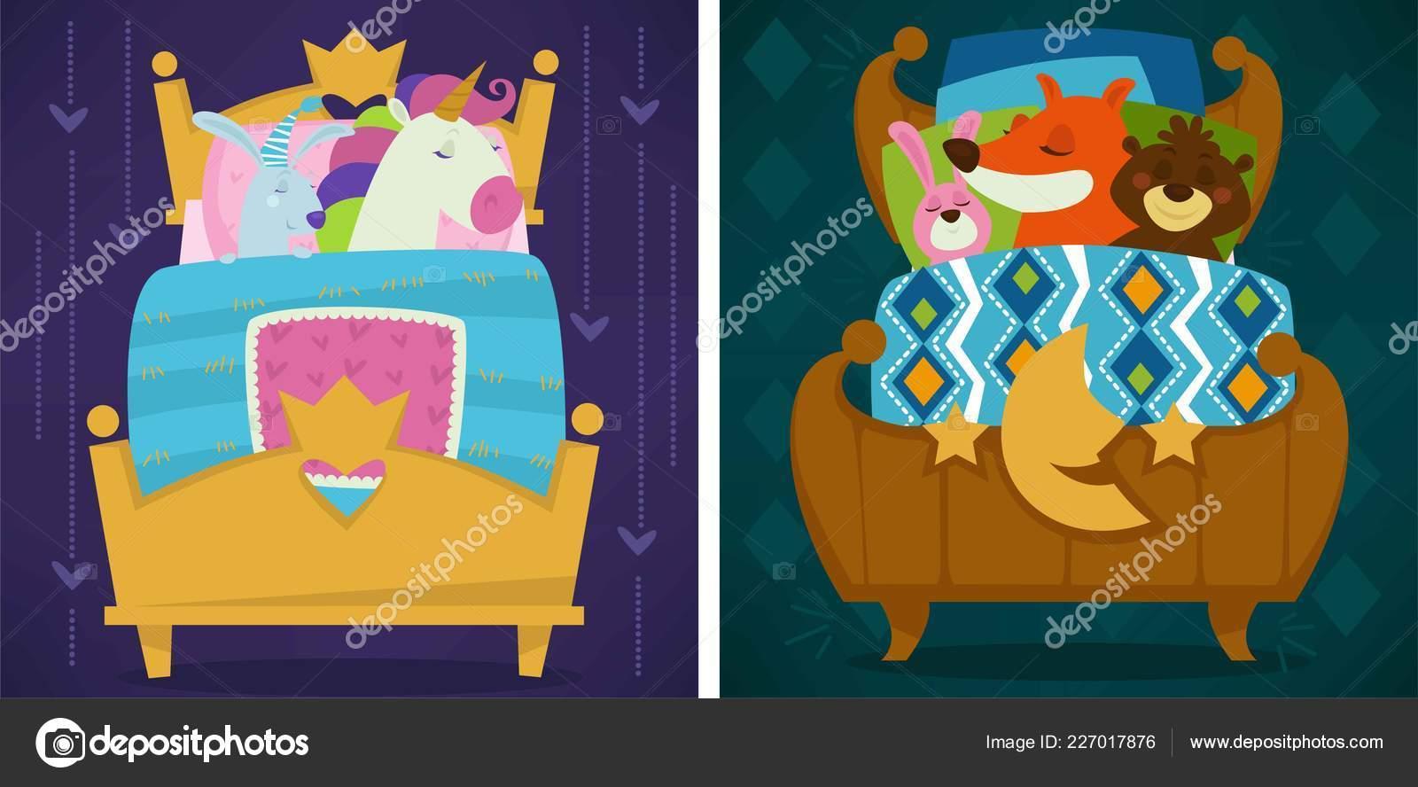 Tiere Schlafen Bett Cartoon Illustration Stockvektor C Sonulkaster