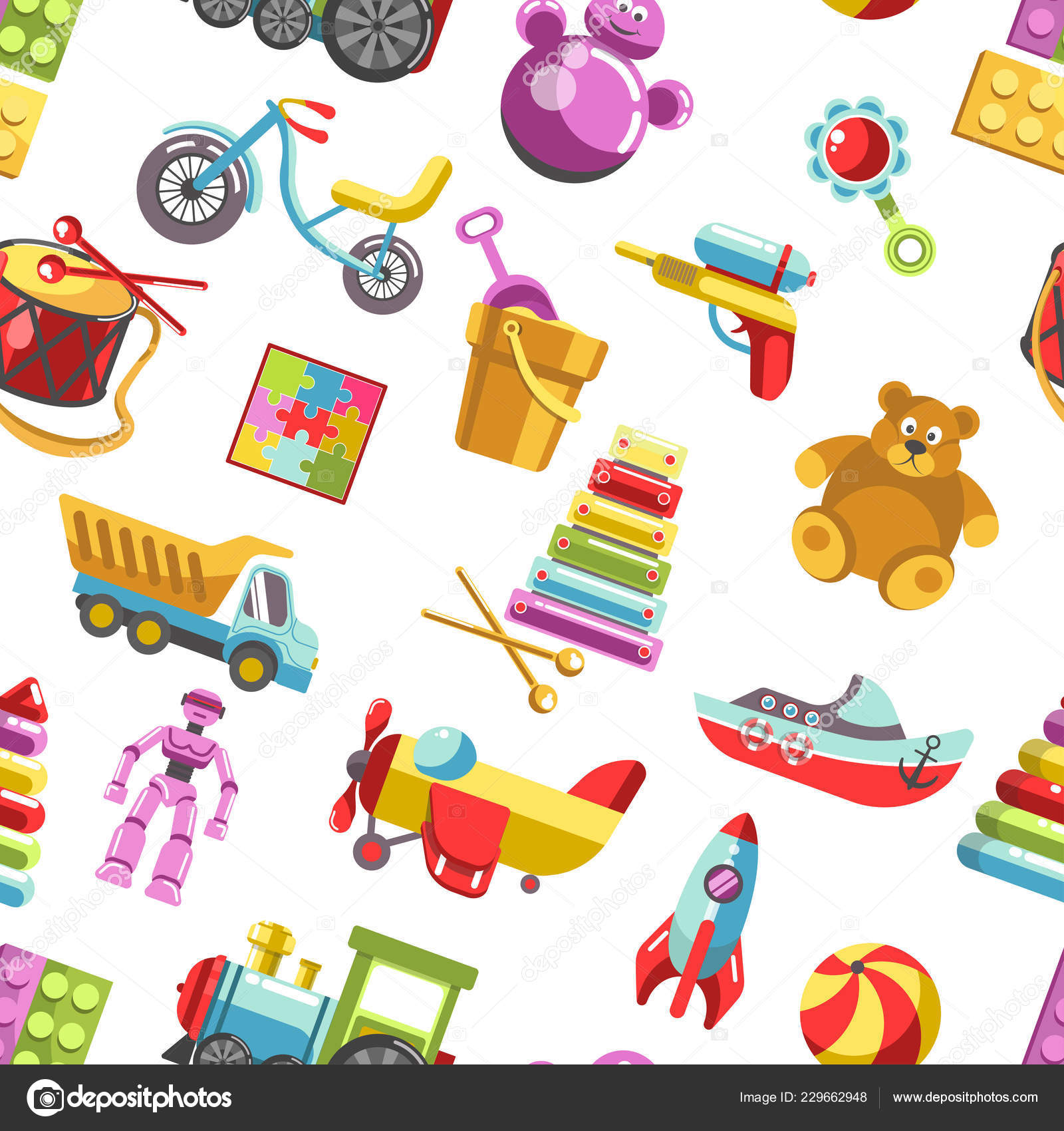Kid Toys Vector Icons Seamless Pattern White Background — Stock