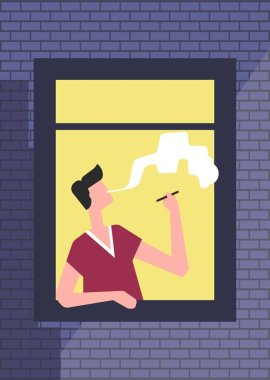 Brick wall with open window and man smoking cigarette, vector
