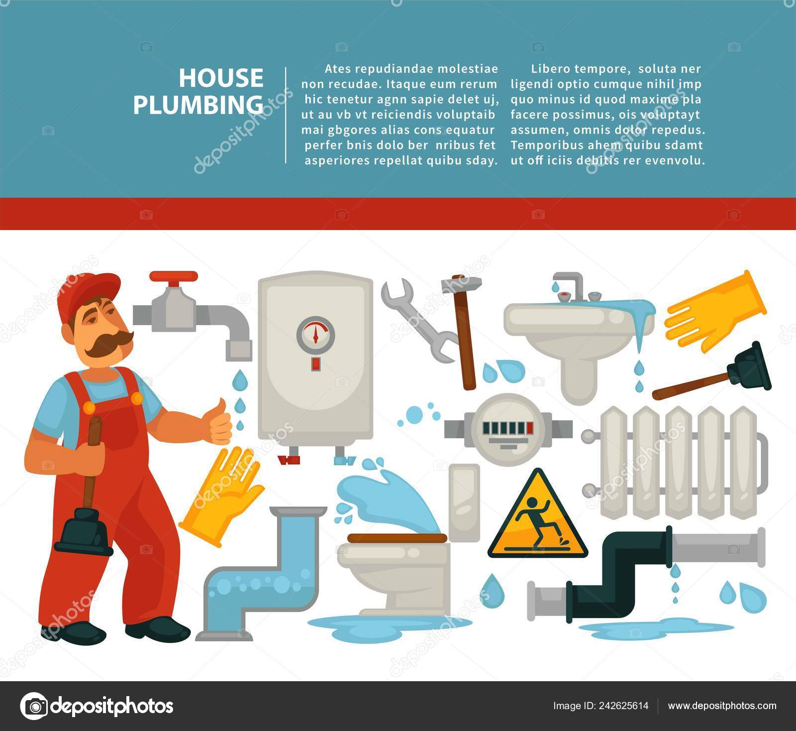 Plumber Services House Plumbing Bathroom Piping Vector Tap Pipe
