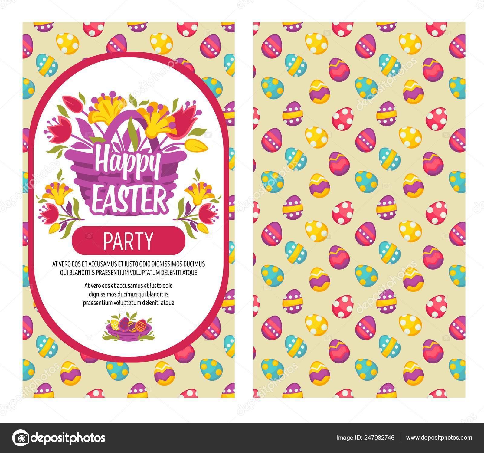 Flores Primaverales Canasta Invitación Partido Eater Patrón