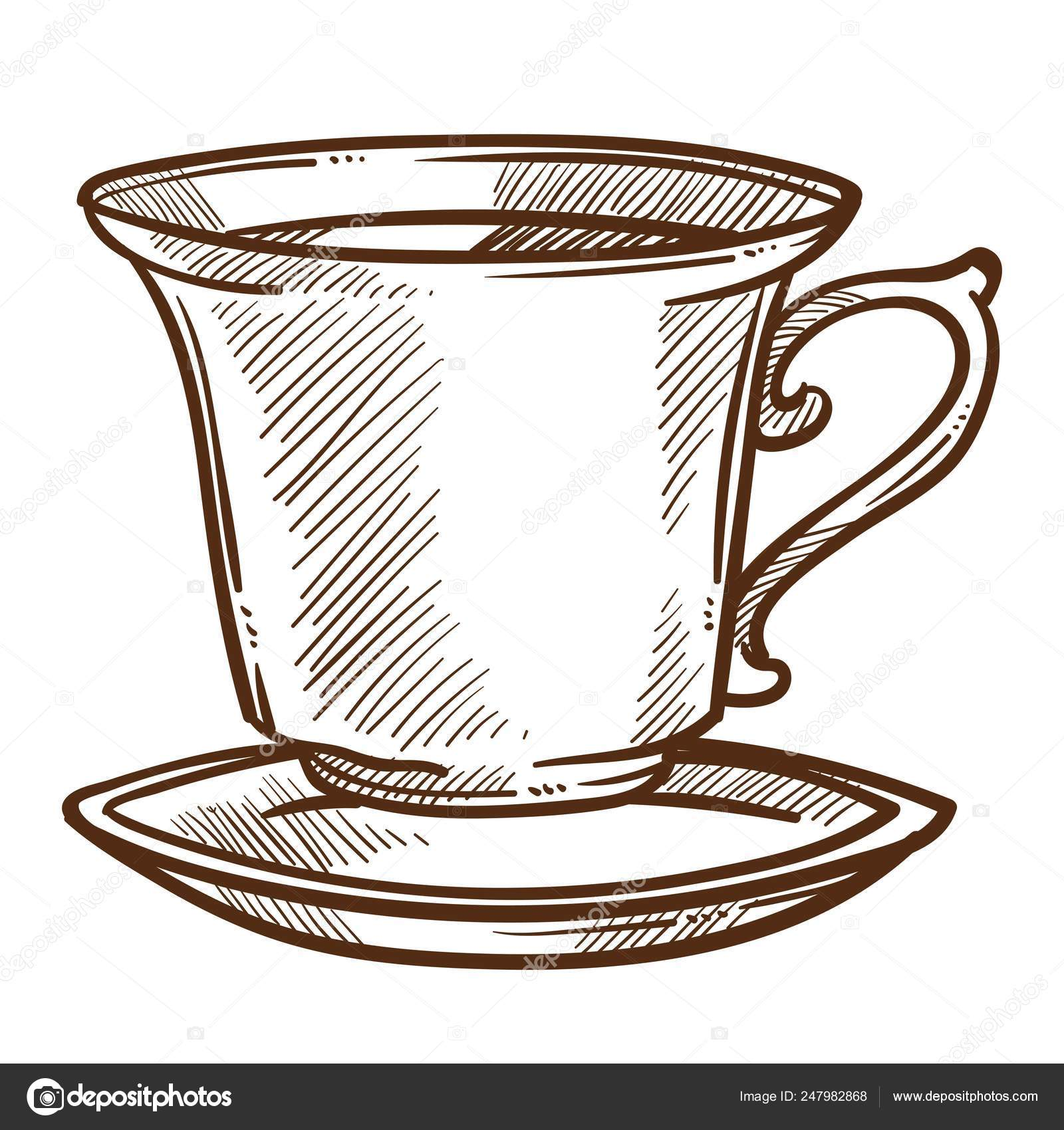 Hot Drink Coffee Tea Cup Saucer Isolated Sketch Vector Beverage Vector Image By C Sonulkaster Vector Stock 247982868
