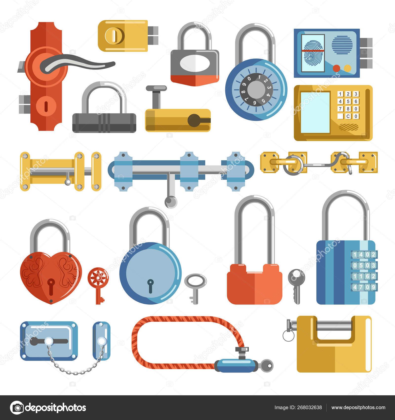 Door Handle Padlocks Locks Keys Isolated Objects Vector Latches