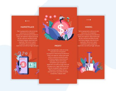 Online business cryptocurrency marketplace profit and mining web pages templates vector virtual money and cash transactions and stock exchange earning and online business Internet site mockup.