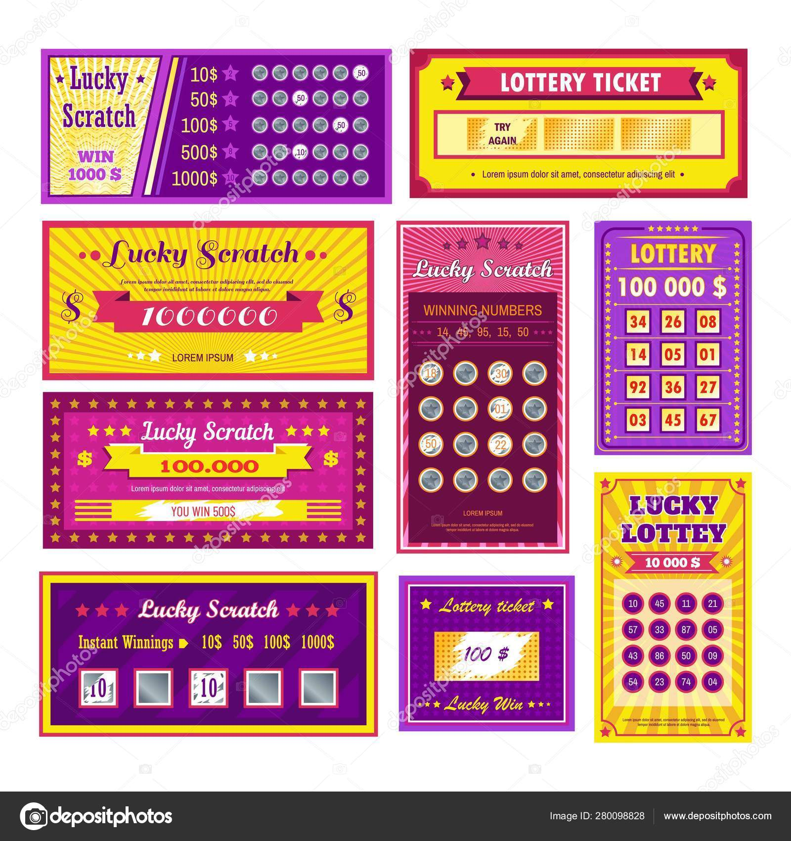 Lottery tickets lucky scratch bingo gambling and winning money