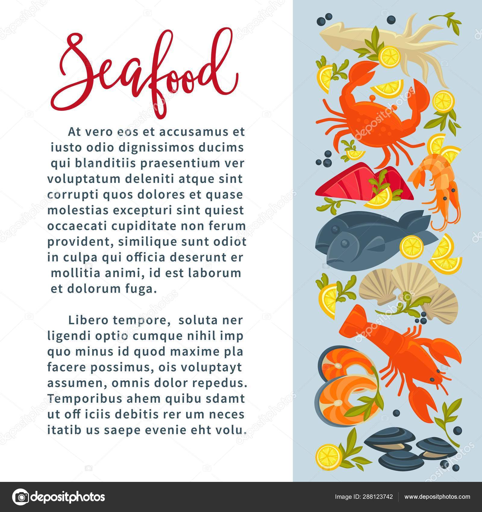 Seafood Fish And Underwater Animals Restaurant Menu Crab And Lobster Stock Vector C Sonulkaster 288123742