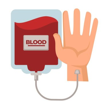 Blood transfusion or donation, donor center, human hand and dropper isolated icon vector. Donating, medicine and healthcare, saving life. Hematology, charity and medical aid or help, plasma in pack icon