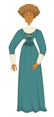 Woman in vintage clothes, 1910s fashion style isolated character